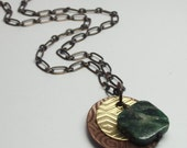 FuChSiTe StONe NeCkLaCe, CoPpEr BrAsS gEOmEtRiC HaNd StaMpEd PriNtEd MeTaL JeWeLrY FrEe ShiPpiNG