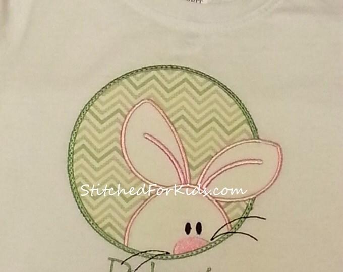 Personalized Peeking  Easter Bunny Shirt  White Long or Short Sleeve Shirt