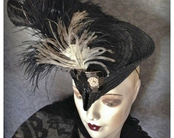 OOAK Steampunk , Late 1930s, 1940s Tilt, Toy, Topper, Fascinator  Straw Hat, Victorian Shoe Buckle, Feathers, Watch Face, Sequined Butterfly