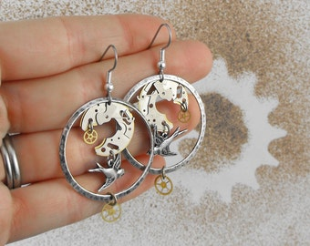 Flying Mechanical Birds Steampunk Earrings - The Sparrows Moment in Time by COGnitive Creations