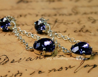 Handmade Swarovski Earrings Tanzanite Vintage Swarovski Crystal  Earrings Hand Crafted Sterling Silver Fine Jewelry