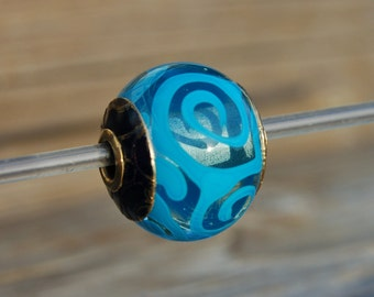 Aquatic - Capped & Cored K-O Lampwork Bead for european style add a bead chains