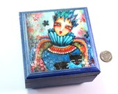 Small Jewelry Box, Girl and Black Cat Art, Wood Trinket Keepsake Box, Storybook Queen Blue Gift for Child Friend Sister