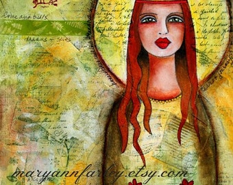 Whimsical Art Print, Madonna, Virgin Mary, Blessed Mother, Girl Illustration, Spiritual, Religious, Mixed Media, 8 x 10, 5 x 7, green yellow