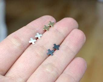Cross stud earrings in sterling silver or brass - nickel free studs / gift for her / minimalist stud earrings