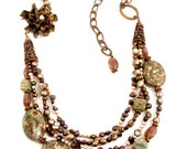 Copper and Brown Pearl Necklace, Earthy Gemstone Multistrand Jewelry, Metalwork Flower Rose Handmade