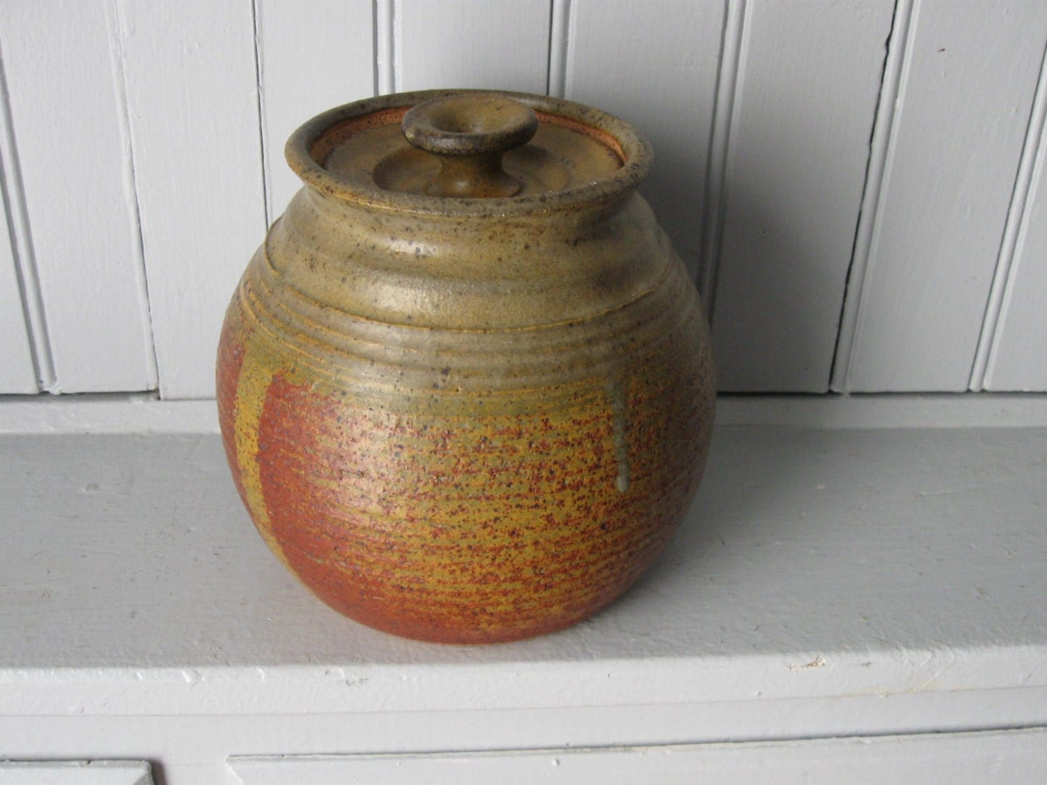 Vintage Ceramic Pot With Lid In Earthtone Glazes Signed