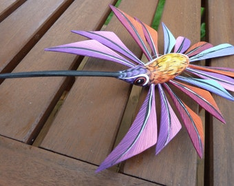 Heavenly Hummingbird Oaxacan Woodcarving Alebrijes by Zeny Fuentes - pink, rainbow and red varieties