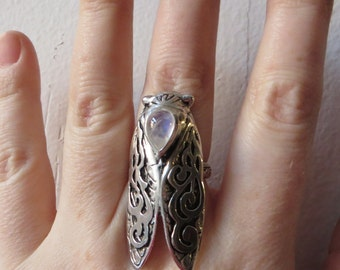 Smoke Wing Cicada Ring- Rainbow Moonstone and Sterling