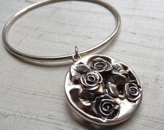 Rose Medallion Bangle Bracelet in Bronze