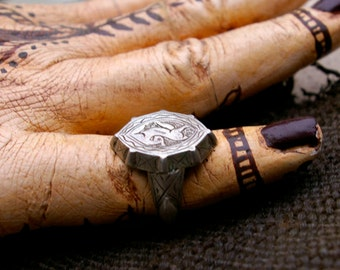 Vintage Tribal Ring- Afghanistan Signet Antelope #16, Size 8.75