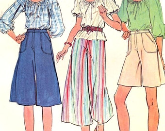 70s Peasant top pattern Mexican folklore blouse Spanish style blouse and culottes vintage sewing pattern McCalls 5062 Bust 34