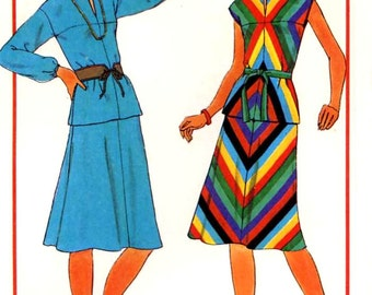 Two piece dress 70s retro style vintage sewing pattern Simplicity 7966 Sz 12 and 14 Uncut