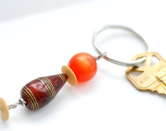 Key Chain, Earthtone, Orange, Rust, Gold, Beaded Key Chain, Keyring, Key Fob, Zipper Pull, Purse Charm, Bag Bauble, Lucite Key Ring