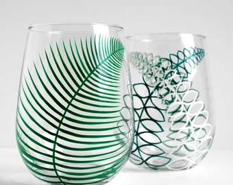Two Summer Fern Stemless Wine Glasses - Set of 2 Hand Painted Fern Glasses - Mothers Day Glasses