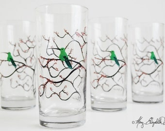 Everyday Glassware - Set of 4 Everyday Drinking Glasses, Hummingbird Glasses, Hummingbird Glassware, Hummingbirds, Free Shipping