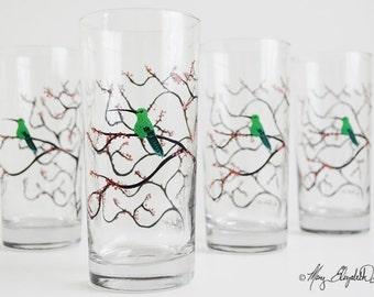 Spring Hummingbird Glassware - Set of 4 Everyday Drinking Glasses, Hummingbird Glasses, Hummingbird Glassware, Hummingbirds, Free Shipping