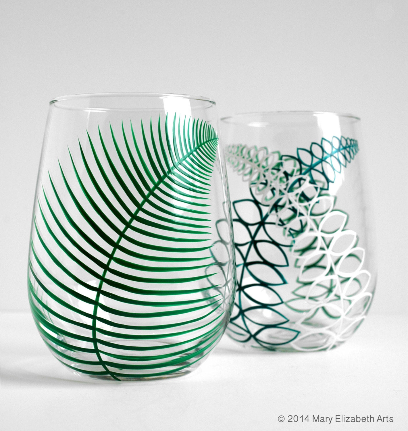Two summer fern stemless wine glasses set of 2 hand painted for Painted stemless wine glasses