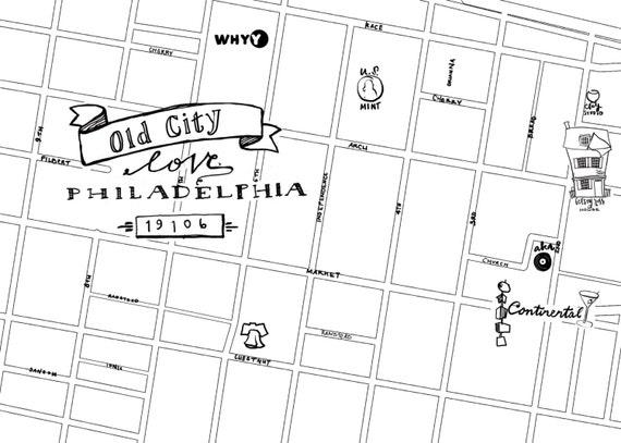 Old City Hand-Drawn Map Philadelphia 8x10