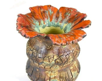Ceramic Sculpture Vase - Forest in Bloom- Handmade Pottery Work of Art - Wheel Thrown Stoneware Art Centerpiece - Ships Today