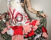 Sexy Ruffle Sundress, xoxo painted babydoll Dress, patchwork braided back Gothic Lolita, red black white