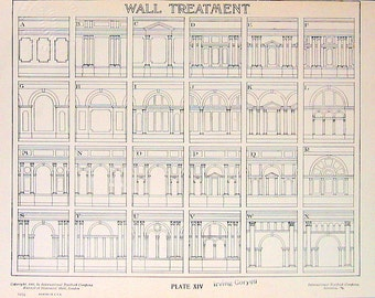 Architectural Drawings - Wall Treatment - 1906 Vintage Book Plate - American Vignola