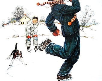 Grandpa and Me Ice Skating - The Four Seasons Calendar - Large Norman Rockwell Poster Sized Print - 1977 Vintage Book Page - 15 x 12