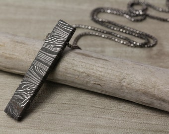Muonionalusta Meteorite Bar Drop Necklace