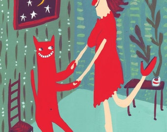 Anti Valentines Day Card with Cat - Funny, Whimsical, Snarky and Humorous Art 'Screw Valentines Day, Dance with a Cat'