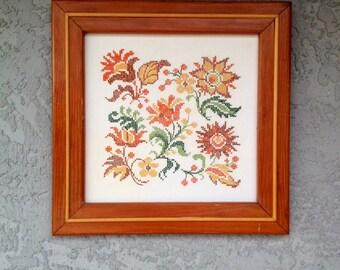 Vintage Floral Framed Embroidery