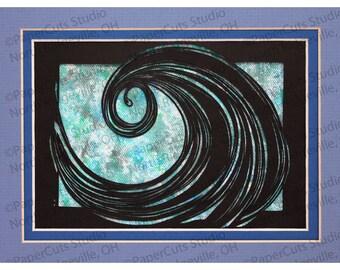 Breaking Wave II Papercutting- Handcut Original, Watercolor, *FINAL EDITION*