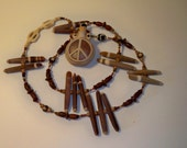 Peace Bottle Necklace with Ceramic Bottle Pendant & Necklace with Matching Shell, Wood and Bone Beads