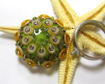 SMAUGGS handmade ring top (1p, 30mm x 10mm), glass, green, purple, topaz, with 2,5mm nut