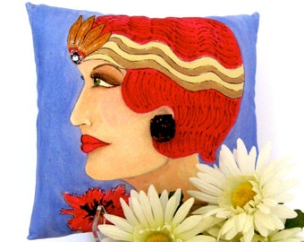 sale..ART DECO CELESTE / Hand Painted pillow, Fun Quote, Gift For her, Art Deco, royal blue, vintage earring, flapper, 1920's, hostess gift