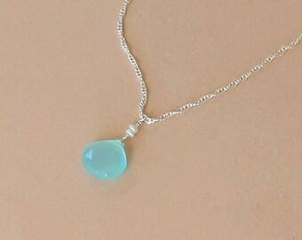 Aqua Blue Chalcedony Necklace, Beach Wedding Necklace, Bridesmaid Gift, Beach Wedding Jewelry