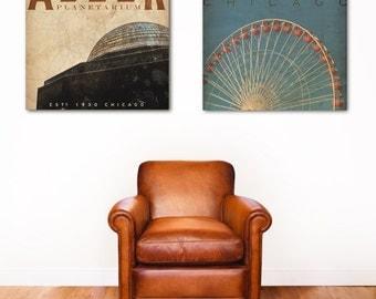 Chicago Landmarks Navy Pier or Adler Planetarium artwork on gallery wrapped canvas by Stephen Fowler