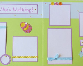 12x12 Premade Scrapbook Pages - Girl Layout  - Baby's First Steps -- LOOK WHO'S WALKING! -- baby girl first year album, learning to walk