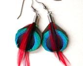 Peacock Fire Earrings- Small Peacock Eye Earrings
