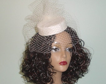 Mini Pillbox Wedding Hat Silk Dupioni with Birdcage Veil and Pouf Ivory and Many Other Colors Made to Order