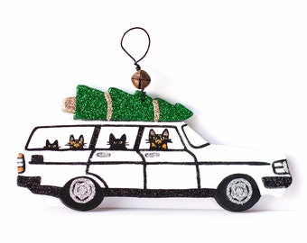 White Christmas Volvo 240 Clay Cat Folk Art Ornament