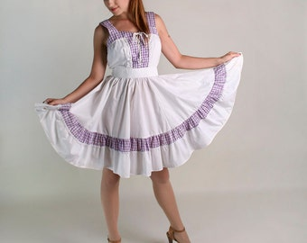 Vintage Gingham Summer Dress - Purple and White Corset Lace Up Picnic Patio Dress - Large
