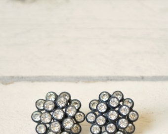 1950s Black Rhinestone Earrings --- Vintage Jewelry