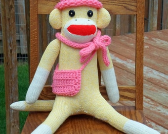 Sock Monkey Doll ,  Rockford Red Heel , Heather Yellow , Handmade in Rockford, IL with hat, scarf, and purse