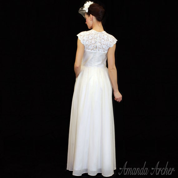Angel Lace Illusion Neckline Wedding Gown With Cap By AmandaArcher