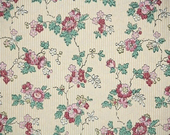 1920s Vintage Wallpaper by the Yard - Antique Floral Wallpaper with Pink Roses on Pinstripe