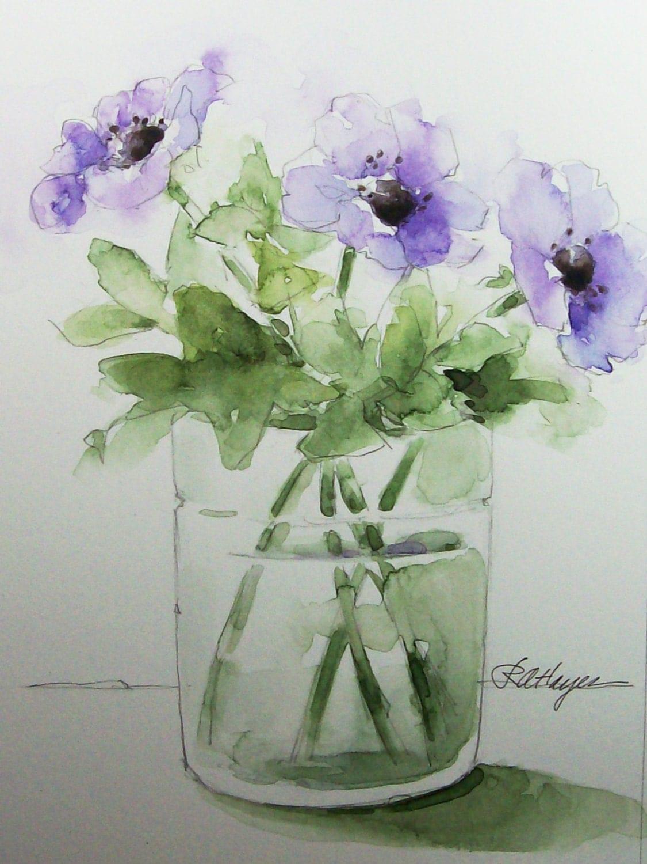 Purple Flowers In Glass Vase Original Watercolor Painting