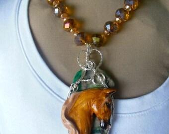 Chestnut Saddlebred Necklace, Pendant