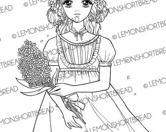 Digital Stamp Shoujo Girl Babydoll Bouquet, Digi Coloring Pages, Flowers, PNG, Retro Anime Fashion, Big Eyed Girl, Instant download