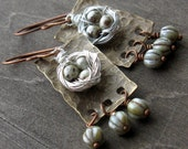 Bird nests earrings - woodland earrings textured mixed metals, brass, silver, copper - Nestled
