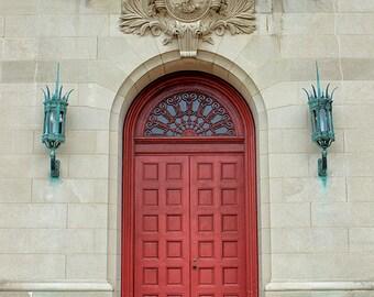 Door Photograph, Architecture Print, Red Doorway, Scarlet Red Door Print, Beige, Ornate, Stone, Architectural Wall Decor - Carillon Door